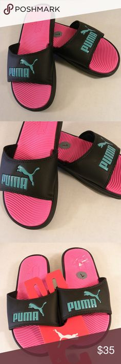 Puma Pop Cat Slides Size 7 Pink Black Green Puma Pop Cat Slides Size 7 Pink Black Green Cute and so comfortable! Perfect for weekends, or if you are like me, to use it every day. Puma Shoes Slippers