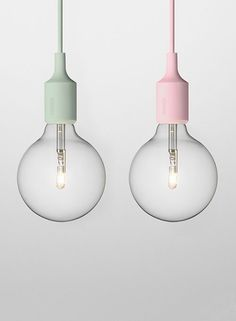 light with a bit of pastel color. Could see this in a white kitchen :) I like these pastel light bulbs!