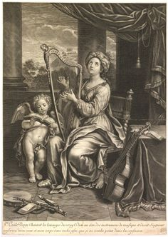 St. Cecilia playing the harp.