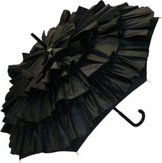 black ruffle umbrella by Guy de Jean