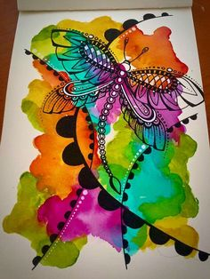 Tracy Scott's Art  - Watercolour doodle !! (Prima watercolors, ecoline watercolor pens, and black gel pen).