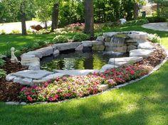 awesome 30 DIY Garden Pond Waterfall for Your Back Yard https://wartaku.net/2017/04/12/diy-garden-pond-waterfall-back-yard/