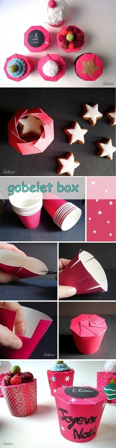DIY Paper Cup Gift Box | www.FabArtDIY.com LIKE Us on Facebook ==> https://www.facebook.com/FabArtDIY
