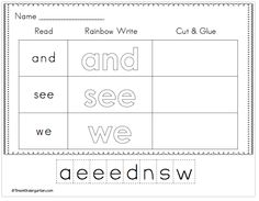 Sight Word Work for beginner- Big pack with over 100 sight words and 3 different activities for each word
