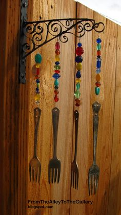 Forks, beads and a sweet little metal hanger.