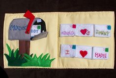 As Promised Here are some pictures from Danny's Quiet book .  I love these pages for the mailbox .  Danny's grandmother thought that it w...