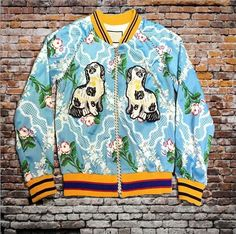 Indie Designs Gucci Inspired Embroidered Dog Applique Silk-satin Bomber Jacket