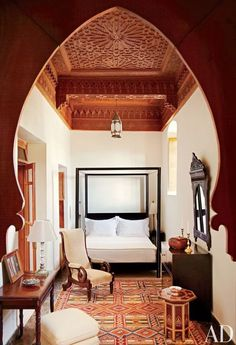 This home just took my breath away… an amazingly beautiful 18th-centuryMoroccanriad (courtyard house). It was intotal disrepair before being rescued and renovated by art dealer Dorothea Elkan & designer Salem Grassi … skilled Moroccan artisans were sourced to create the stunning features of this home. photos by simon watson for architectural digest rooftop kitchen xx …