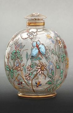 Antique Vintage Emile Gallé enameled glass scent perfume bottle with floral butterfly design