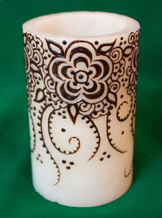 Items similar to inch ivory LED hurricane Henna Candle with arabic gulf flower vine design on Etsy Natural Candles, Best Candles, Hena, Henna Drawings, Henna Candles, Flower Henna, Candle Art, Candle Centerpieces, Henna Patterns