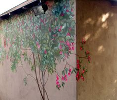 bougainvillea that blooms all the time - floral mural out-doors Painting Wallpaper, Mural Painting, Wall Wallpaper, Fence Painting, Outdoor Painting, Paintings, Faux Painting Techniques, Garden Mural, Wood Exterior Door