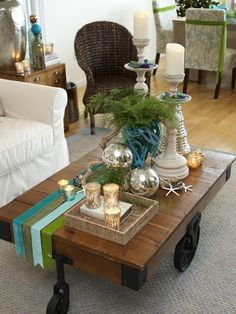 Coastal- and Cottage-Style Christmas Decorations: Use a minimal approach when going for a casual coastal style – just a few pops of color, a little bit of bling and a touch of nature.  From DIYnetwork.com