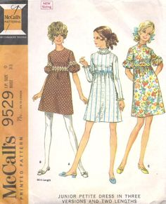960s Baby Doll Dress sewing Pattern Vintage McCalls
