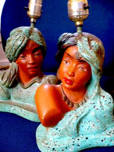 Pair Art Deco 1955 Universal Statuary HIndu Man & Woman Chalkware Lamps Vintage Lampshades, Funky Lamps, I Love Lamp, Retro Lighting, Vintage Table, Just For Fun, Table Lamps, Kitsch, Bathroom Ideas