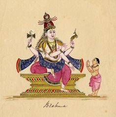 A diminutive Brahmin approaching Shiva humbly, with his hands in anjali mudra. The god sits majestically in a tall asana, his right leg rests on it, while his left hangs down. In his upper hand the god carries the damaru, in his upper left the mriga, the lower right hand is in the teaching gesture and the left hangs loose. Shiva's hair is, as usual, gathered in a jata mukuta, he is dressed in a dhoti and angavastra and wears the usual ornaments. Company School, 1820