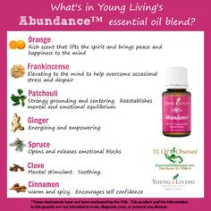 Young Living Essential Oils: Abundance. I love my oils and hope you will, too!  Please visit Young Living's website at https://www.youngliving.com/en_US/discover And order using my distributor number: 2079776.
