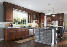 A modern kitchen with plenty of cabinet space.