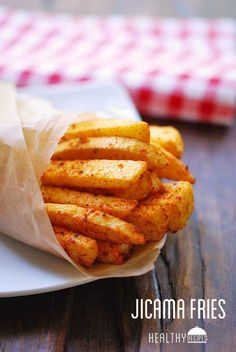 Jicama fries make a tasty alternative to regular fries. In this version, the fries are coated in olive oil and yummy seasonings, then baked until tender.