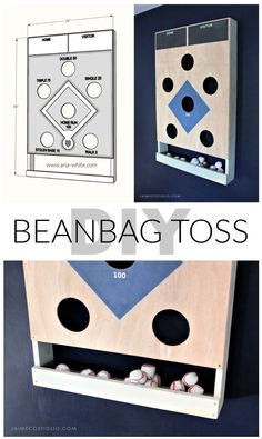 A DIY tutorial to make a baseball themed beanbag toss game. This beanbag toss has it's own beanbag holder and mounts flush to the wall.