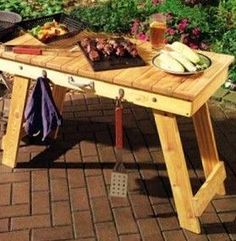 Old Pallets Folding Grill Table - Solid Cedar fold up table you can take anywhere. Use it for grilling, tailgating, camping, or just backyard gatherings. Pallet Crafts, Diy Pallet Projects, Wood Projects, Pallet Ideas, Wooden Crafts, Woodworking Furniture, Pallet Furniture, Woodworking Projects, Furniture Ideas