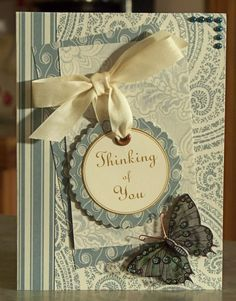 Handmade Thinking of You Sympathy Card, Beautiful 3D Butterfly