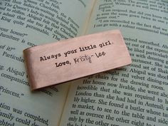 www.MyBellaMarketplace.com  #MyBellaMarketplace  Always Your Little Girl Custom Hand Stamped Father of the Bride Money Clip Copper or Aluminum by MyBella