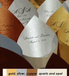 Personalized Paper Petal Cones for guests to toss silk rose petals instead of ringing bells or blowing bubbles