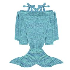 iEFiEL Lake Blue Handcrafted Knitted Mermaid Tail Blanket Sleeping Bag for Adult
