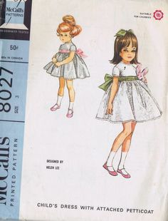 GIRLS DRESS PETTICOAT VINTAGE 60s SEWING PATTERN 8027 MCCALLS SIZE 3 BUST 22 CUT