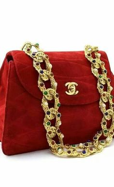 Chanel Red Suede Shoulder Bag with jewel encrusted chain Chanel Fashion, Fashion Bags, Fashion Accessories, Fashion Handbags, Luxury Fashion, Chanel Style, Chanel Handbags, Purses And Handbags, Handbags 2014