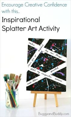 Inspirational Splatter Paint Art Project for Kids Inspirational Splatter Paint Art Project for Kids: Help children increase their creative confidence and self-esteem with this motivational art activity! Art Therapy Projects, Art Therapy Activities, Art Projects, Group Activities, Therapy Ideas, Painting For Kids, Art For Kids, Painting Art, Oil Paintings