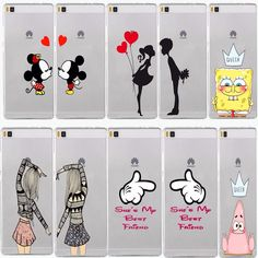 cute Mickey kiss bbf best friends lover Transparent Hard Cover Case for Huawei P6 P7 P8 lite p9 Lite puls Honor 4X 4C 6 7 G7