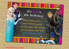 Items similar to Disney Frozen Birthday Party Invitation, Elsa - Birthday Party Invites Supplies on Etsy Frozen Birthday Invitations, Disney Frozen Birthday, Party Invitations, 3rd Birthday, Birthday Parties, Free Thank You Cards, Rsvp, Colorful, Handmade Gifts
