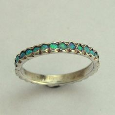 Eternity ring - sterling silver thin band with opal gemstones. birthstones ring. wedding band.