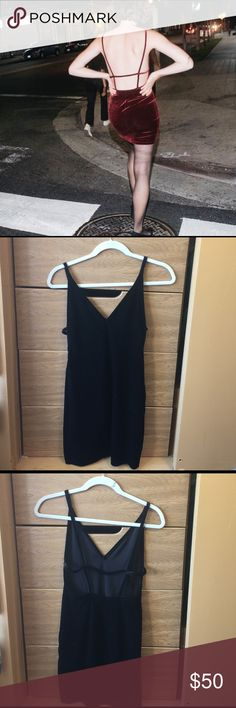American Apperal black velvet dress Black soft velvet dress with spaghetti straps, slight v neck, open back. Mini dress that's in perfect condition and never been worn. Says Small but can fit a size Xs-Small. American Apparel Dresses Mini