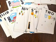 Vintage alphabet and numbers flash cards.