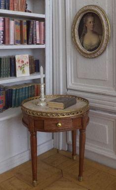Maison de poupées acajou Ovale guéridon Miniature Salle à manger meubles