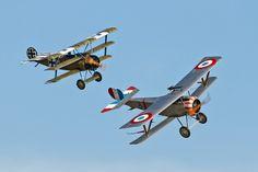 Fokker Dr.I and Nieuport 17 Scout  #biplane #WW1