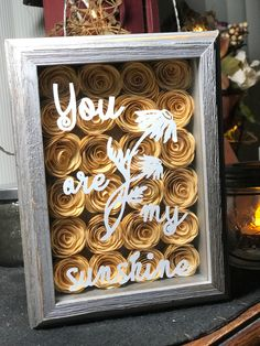 "Rustic shadow box in golden yellow-tone paper flowers with verse ""You are my sunshine"" by UniquelyNoreen on Etsy"