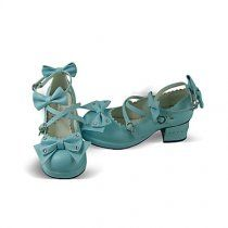 Handmade Blue PU Leather 4.5cm High Heel Classic Lolita with Bo #Lolita Shoes