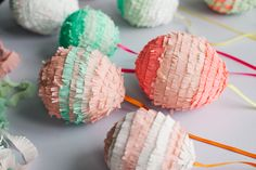 DIY Easter Egg Piñatas. Stuff these egg-shaped balloons with small candies or confetti!