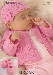 Sirdar Snuggly 4 ply Baby Girls Cardigan, hat & bootees 1666