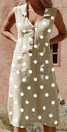 Plus Size Elegant Buttoned Down Polka Dot Pockets Dress Casual Dresses, Fashion Dresses, Burgundy Dress, Kurta Designs, Summer Dresses For Women, Dot Dress, Corsage, Swing Dress, Cotton Dresses