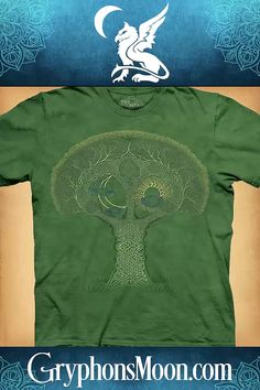 Celtic Roots T-Shirt - With trunk and branches woven from strands of Celtic knotwork, this ancient tree holds the Sun & Moon in its branches, and serves to connect the earth with the heavens. T-shirts are 100% cotton, and are printed with environmentally safe, water based inks. #Tree #TreeOfLife #WorldTree #HeartOfTheForest #Knotwork #CelticKnotwork #CelticKnot #CelticStyle #CelticDesign #TShirt #Tee #TeeShirt #WitchWear #WitchyWear #PaganShop #WitchShop #BeTheMagic #EverydayMagic #GryphonsMoon Pagan Shop, Witch Shop, Moon Logo, Great Father's Day Gifts, Celtic Designs, Photo Quotes, Special Events, Screen Printing, The Help