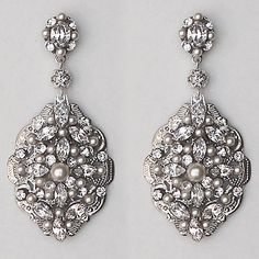 Vintage Pearl & Crystal Statement Earrings designed by Cheryl King Couture.