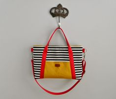 s.o.t.a.k handmade: laptop bag, that yellow fabric is a pocket. It's bright & graphic <3