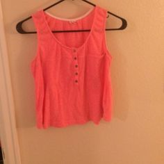 Superdry Pink Crop Tank Pink crop tank by Superdry. Has buttons and a pocket at the front. Superdry Tops Tank Tops