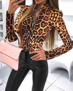 Leopard Print Zipper Up Jacket Fashion Trends, Styles and Tips for dresses Modest Women in 2018 dresses For Teens dresses Formal womens fashion dresses Summer ,dresses Cute Formal Dresses For Teens, Modest Dresses, Summer Dresses, Leder Outfits, Looks Chic, Young Fashion, Blazer Dress, Womens Fashion Online, Women's Summer Fashion