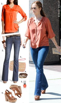 Minka Kelly's Coral Blouse and Platform Sandals