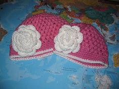 Pink Puff Hat w/Flower Embellishment $12.00